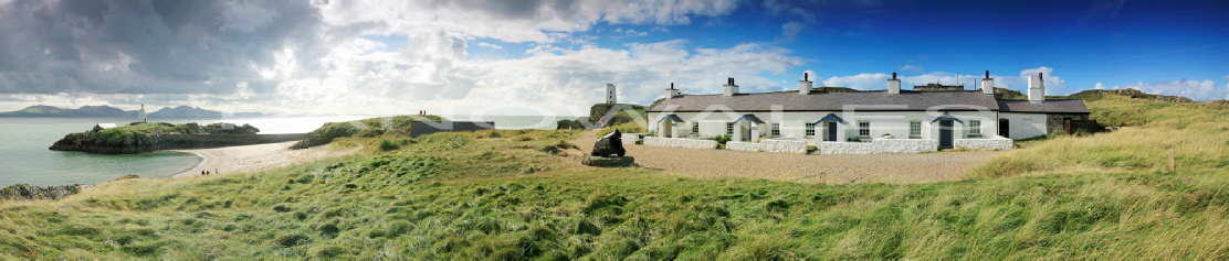 The pilot cottages, Ynys Llanddwyn with Yr Eifl in the background